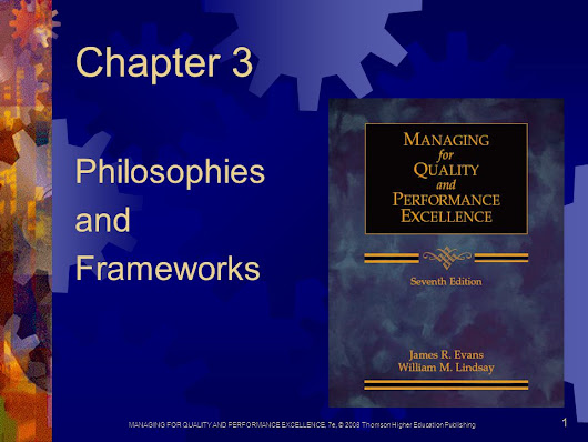 MANAGING FOR QUALITY AND PERFORMANCE EXCELLENCE, 7e, © 2008 Thomson Higher Education Publishing 1 Chapter 3 Philosophies and Frameworks. -  ppt download