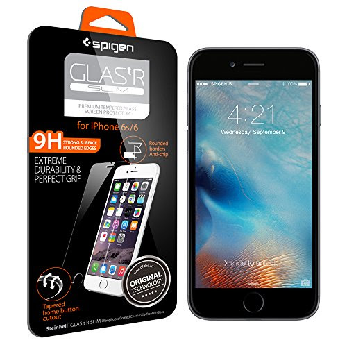 【Spigen】 iPhone6 ガラス フィルム / iPhone6s ガラス フィルム GLAS.tR SLIM [ 液晶保護 9H硬度 Rラウンド 加工 ] アイフォン6s / 6 用 (Glas.t R SLIM SGP11588) SGP11588