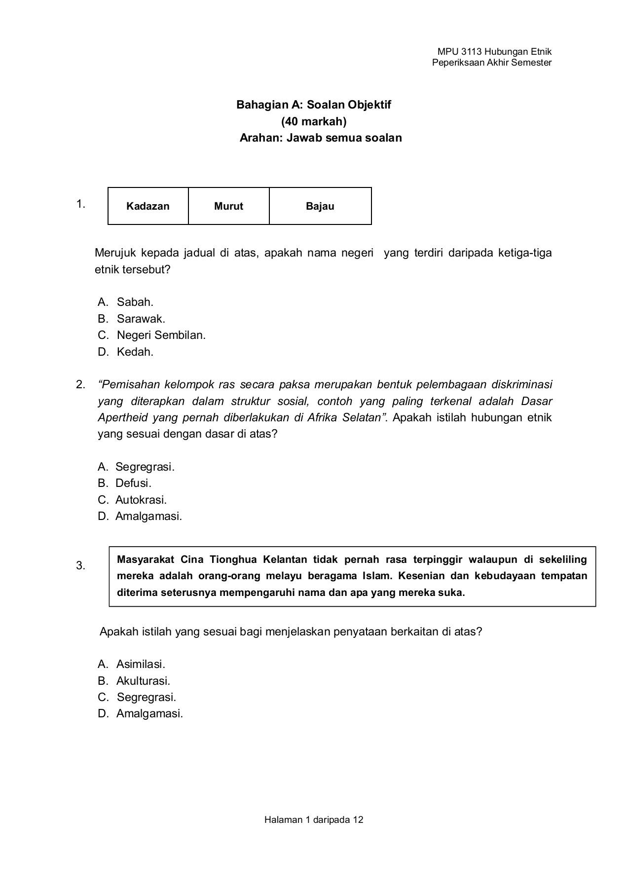 Contoh Soalan Kuiz Kemerdekaan Sekolah Rendah - Selangor c