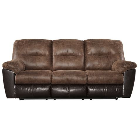 tone faux leather reclining sofa  signature design