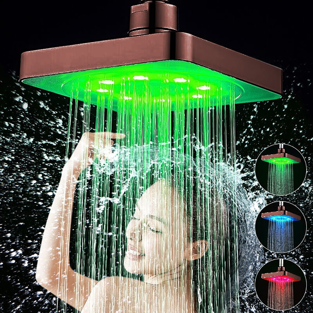 """10"""" Oil Rubbed Bronze Square LED Rain Shower Head"""