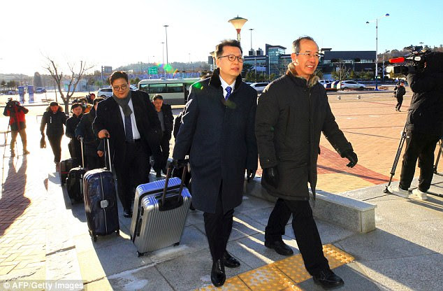 Seoul and Pyongyang had also pledged to hold joint training sessions at North Korea's Masik Pass ski resort. A team of South Korean officials (pictured) inspected the facilities last week
