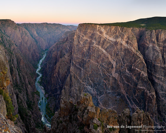 River gorge of the Gunnison and painted wall right before sunrise