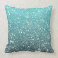Aqua Ombre Glitter Pillows