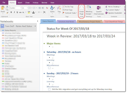 Sending OneNote pages as emails