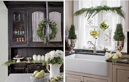 two images: black buffet cabinet with paperwhites; kitchen sink with swag