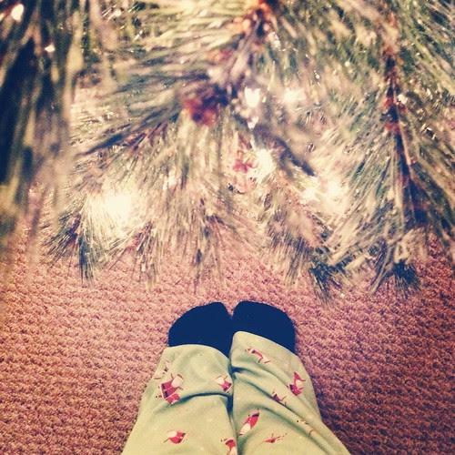 Santa pj's, fuzzy socks and twinkly lights.