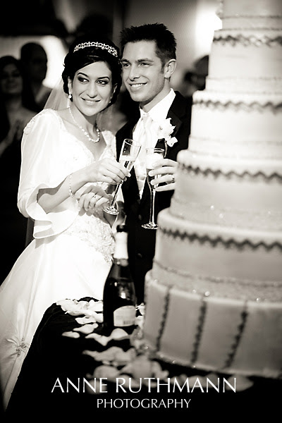 Elegant Bride & Groom Cake & Champagne
