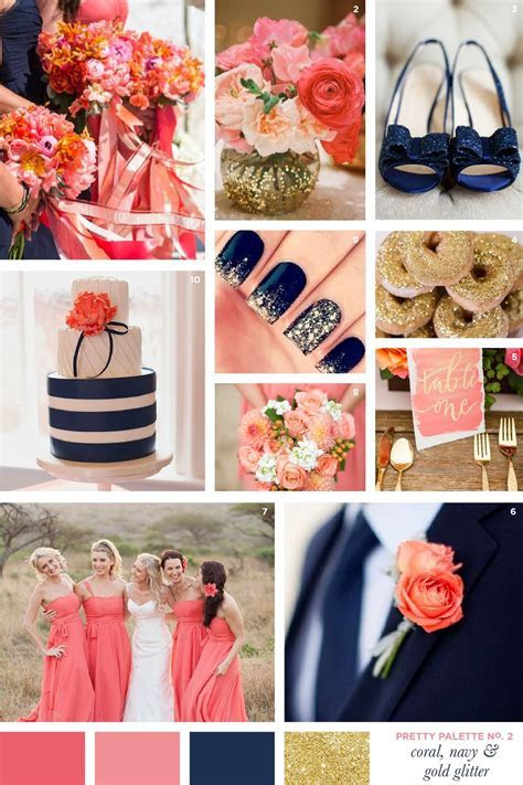 Pretty Palette: Coral, Navy & Gold Glitter   WEDDING CAKES