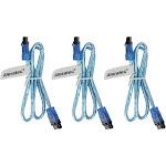 """Aleratec SATA 3 Cable 6GB Male Straight w/ Clip 20"""" 3-pk Transparent Blue"""