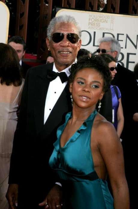 E'Dena Hines acompanhou o ator Morgan Freeman no Globo de Ouro em janeiro de 2005, em Beverly Hills, Califórnia.