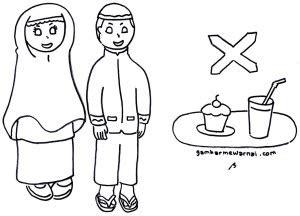 gambar mewarnai anak latihan berpuasa ramadhan gambar