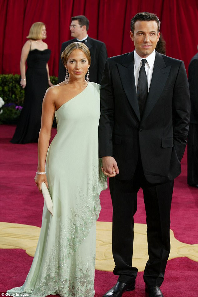 The past: Jennifer Lopez addressed in December's Vanity Fair her career crisis in 2003 when her movie Gigli with Ben Affleck flopped and their engagement ended; seen in March 2003