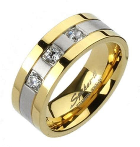 New Mens Titanium Elegant Gold/Silver w/3 CZ's Wedding