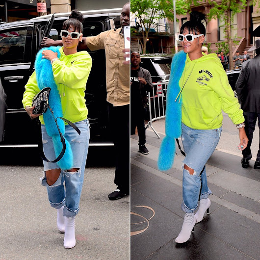 Rihanna Spotted in Off-White and Pologeorgis - Haus of Rihanna
