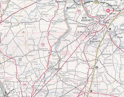 1968 NJ Highway map showing planned I95 route through Somerset County