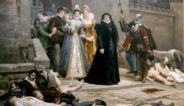 Catalina de Médici aparece en el centro, vestida de negro. en este cuadro de la matanza pintado por Édouard Debat-Ponsan
