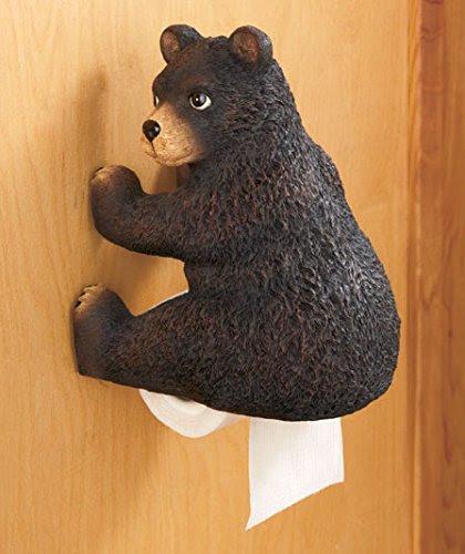 Black Bear Themed Toilet Paper Holder Home Garden Bathroom Accessories Holders