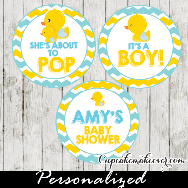 Yellow Blue Rubber Ducky Cake Toppers Personalized Tags