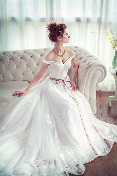 Unique White Lace Long Wedding Dress, Bridal Dress TA0105