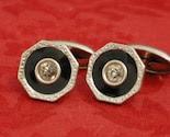 Vintage Deco SIlver, Black and Rhinestone Elegant Spiffy Cufflinks Cuff Links