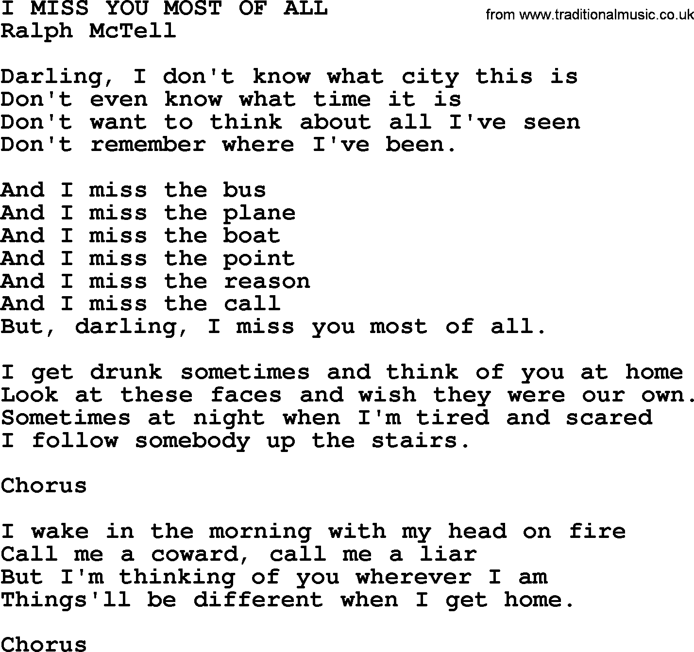 I Miss You Most Of Alltxt By Ralph Mctell Lyrics And Chords