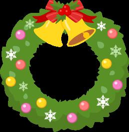 シンプルなクリスマスリースの無料ベクターイラスト素材 Picaboo