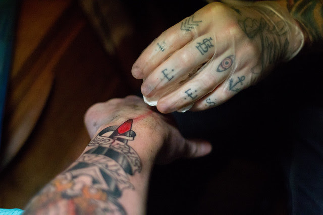 Vintage Owl Dagger Tattoo