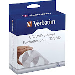 Verbatim Corporation 49976 100Pk Cd/Dvd Paper Sleeves Clear Window