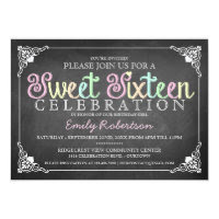 Sweet 16 Vintage Chalkboard Party Invitation