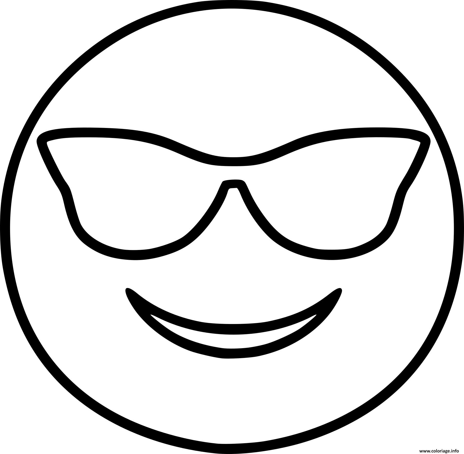 Coloriage Smiley Emoji Cool Jecoloriecom