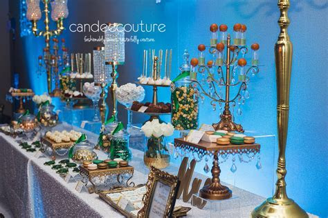Elegant Emerald Green and Gold Dessert Table   Candee Couture