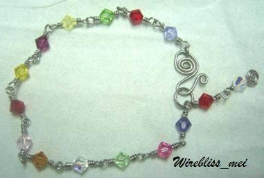 Wire Wrapped Colorful Swarovski Crystal Bracelet
