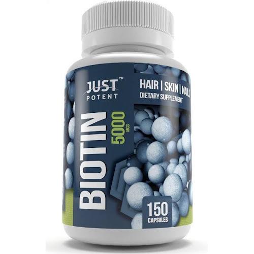 Biotin (Vitamin B7) Supplement by Just Potent 5,000 mcg | 150 Count