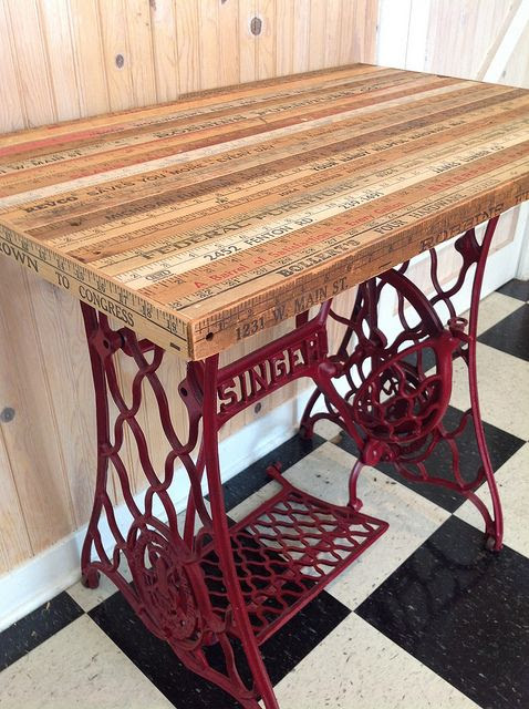 An Antique Singer Treadle Sewing Machine Base Finds New Life As A Table With The Addition