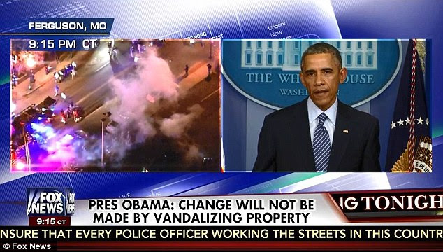 CALM: The taciturn president told the nation that violence won't solve problems, while split-screens showed the strets of Ferguson exploding intopandemonium