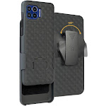 Nakedcellphone [Black Tread] Kickstand Case Cover with [Rotating/Ratchet] Belt Clip Holster Combo for Motorola Moto One 5G Phone (XT2075)