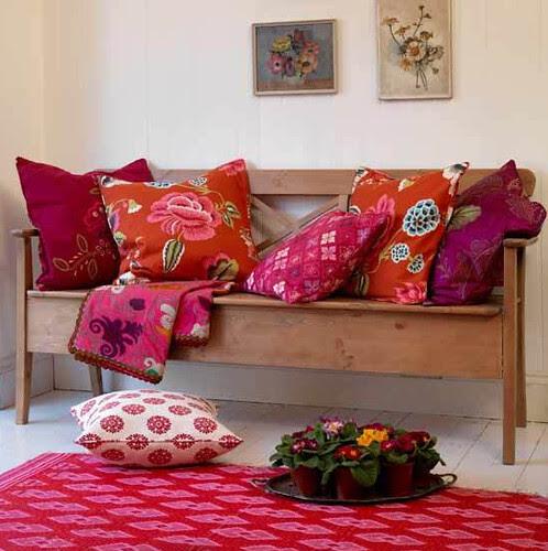 Pink and Orange - Interior Design Patterned living room via housetohome