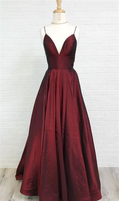 Simple Straps A line Red Long Prom Dress