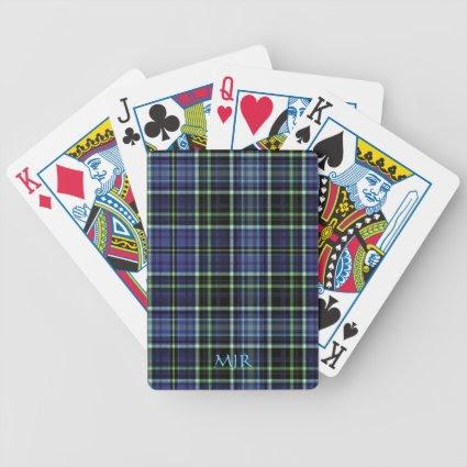Monogram Greens Blues Scottish-style Tartan Plaid Playing Cards