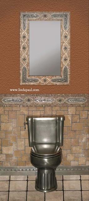 Bathroom Mirror frame in mosaic tile with studded bracket metal ...
