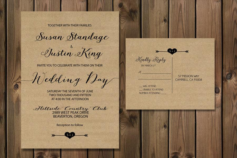 Wedding Invitation Set Rustic