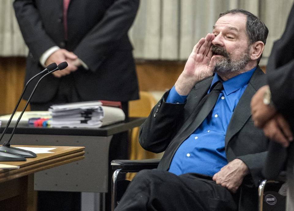 F. Glenn Miller Jr. yells as the jury as they leave after being found guilty of three counts of capital murder on Monday, Aug. 31, 2015, at the Johnson County Courthouse in Olathe. Miller was convicted of fatally shooting three people outside Jewish facilities in Overland Park on April 13, 2014. Jurors will now consider whether Miller faces the death penalty or life in prison.