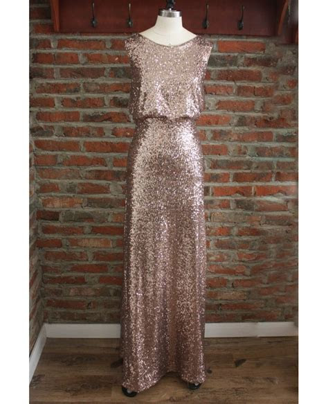 Cheap Formal Gold Sparkly Bridesmaid Dresses Long Sequin