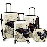 World Traveler Butterfly 4-Piece Hardside Lock Spinner Luggage Set