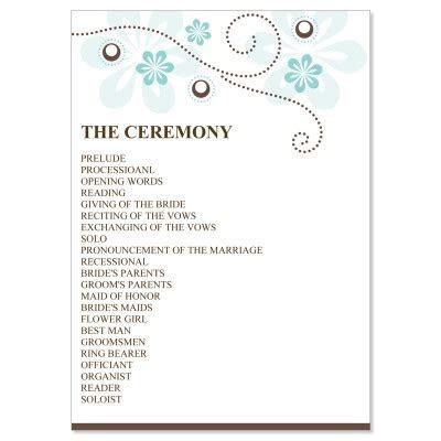 Blue & Brown Wedding Program Templates   Crystal Ocean Do