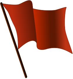 A stylized representation of a red flag, usefu...
