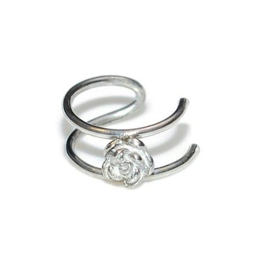 Nose Cuff / Flower silver faux piercing ring, fake hoop earring - IROOCCA