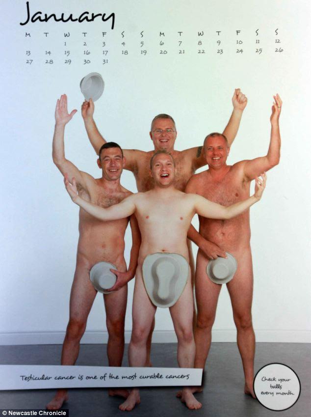 Tanto di cappello a voi!  Decine di colleghi maschi da Wansbeck General Hospital spogliarono per incoraggiare gli uomini a controllare se stessi ogni mese