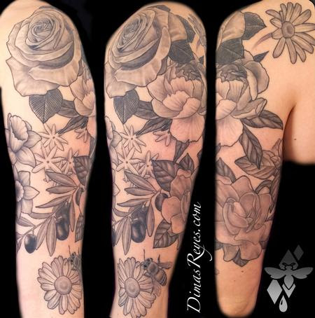 Kingdom Studio Tattoos Flower Vine Black And Grey Flowers Tattoo